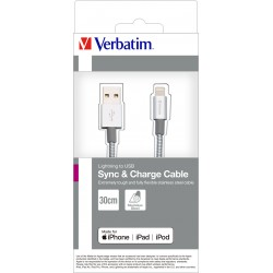 Kabel USB na Lightning 30cm Silver Verbatim 48864