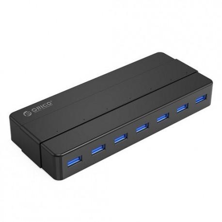 USB hub s 7 vhodi, USB 3.0, zunanje napajanje, črn, ORICO H7928-U3
