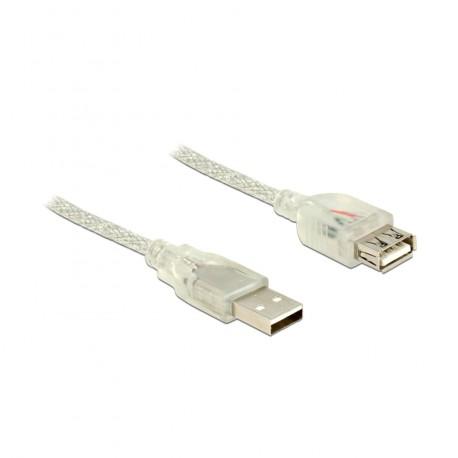 Podaljšek USB A-A 3m Delock transparent dvojno oklopljen