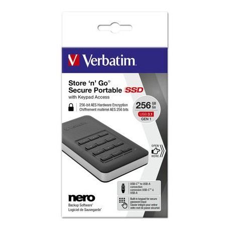 Zunanji disk SSD 256GB USB 3.1 Verbatim Store n Go Secure s tipkovnico 53402