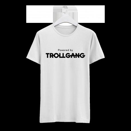 Majica moška bela Powered By TrollGang črn napis