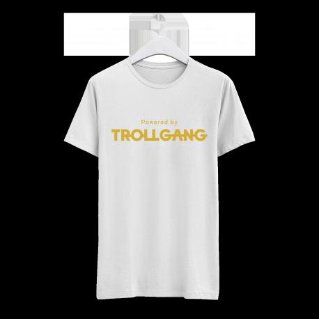 Majica moška bela Powered By TrollGang zlat napis