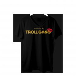 Majica ženska črna TrollGang Kiss zlat napis