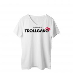 Majica ženska bela TrollGang Kiss črn napis