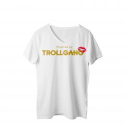 Majica ženska bela TrollGang Kiss zlat napis