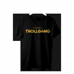 Majica ženska črna Powered By TrollGang zlat napis