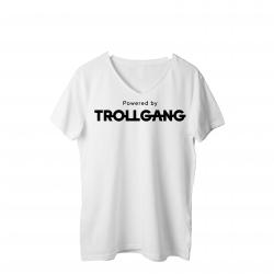Majica ženska bela Powered By TrollGang črn napis