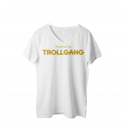 Majica ženska bela Powered By TrollGang zlat napis