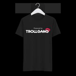 Majica otroška črna TrollGang Kiss bel napis