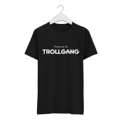 Majica otroška črna Powered By TrollGang bel napis