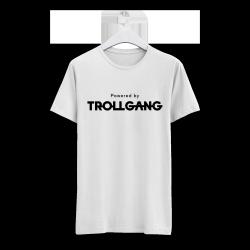 Majica otroška bela Powered By TrollGang črn napis