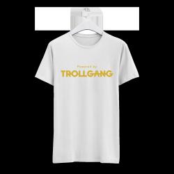 Majica otroška bela Powered By TrollGang zlat napis