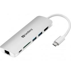 Priklopna postaja Sandberg USB-C Dock HDMI + LAN + SD + USB