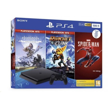Igralna konzola Playstation PS4 500GB set + Spiderman/HZD CE/R&C