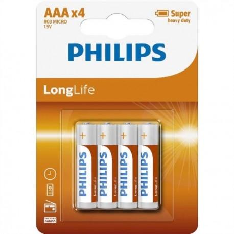 PHILIPS BATERIJA - AAA LONGLIFE BLISTER 4 KOS (R03), R03L4B/10