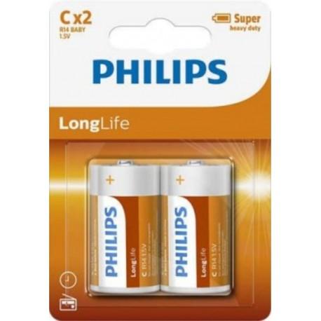 PHILIPS BATERIJA C - LONGLIFE BLISTER 2 KOS (R14), R14L2B/10