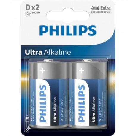 PHILIPS BATERIJA D - ULTRA ALKALINE 2 KOS (R20), LR20E2B/10