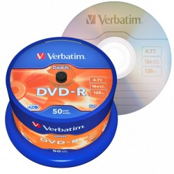 Mediji DVD-R 16X 4.7GB Matt Silver Verbatim Cake-50 (43814)