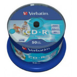 Mediji CD-R 700MB 52x Verbatim  InkJet Spindle-50, NO ID (43438)