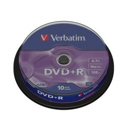 Mediji DVD+R 4.7GB 16x Verbatim Spindle-10 (43498)