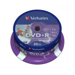 Mediji DVD+R 4.7GB 16x Verbatim InkJet Spindle-25 (43539)
