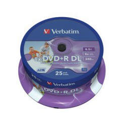 Mediji DVD+R Dual Layer 8.5GB 8x Verbatim InkJet Spindle-25 (43667)