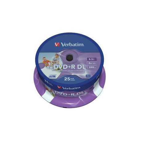 Mediji DVD+R Dual Layer 8.5GB 8x Verbatim InkJet Spindle-25 (43667)