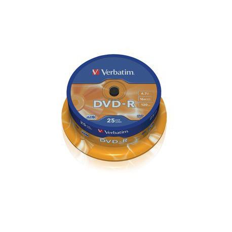 Mediji DVD-R 4,7GB 16x Verbatim Spindle-25 (43522)