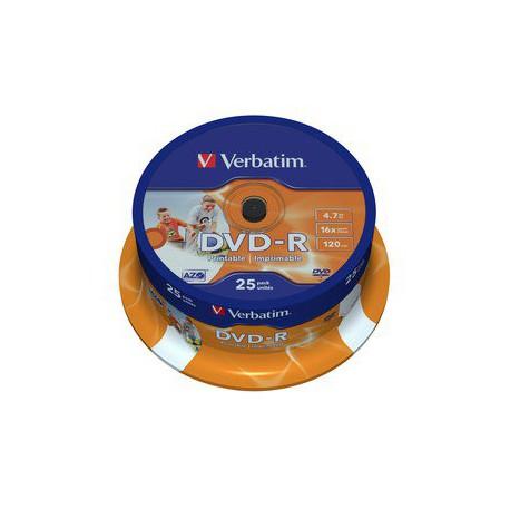Mediji DVD-R 4.7GB 16x Verbatim InkJet Spindle-25 ID (43538)