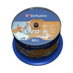 Mediji DVD-R 4.7GB 16x Verbatim InkJet Spindle-50 No ID (43533)
