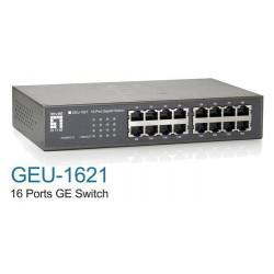 Stikalo (switch) 16 port 10/100/1000, LevelOne GEU-1621, magnetno podnožje