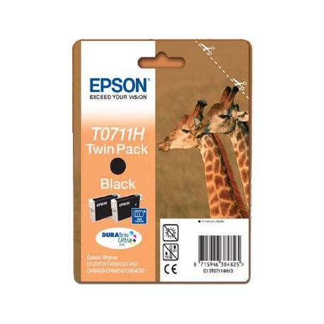 Črnilo Epson C13T07114H10, črno dvojno pakiranje (2x 11,1 ML)