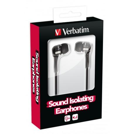 Slušalke ušesne Verbatim Sound Isolating, črne, 49115