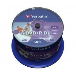 Mediji DVD+R Dual Layer 8.5GB 8x Verbatim InkJet Spindle-50 (43703))