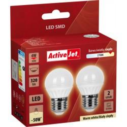 LED sijalka (žarnica) ActiveJet 4 W, E27, topla svetloba (2700K), dvojno pak.