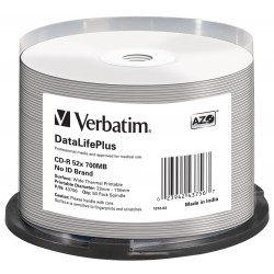 Mediji CD-R 700MB 52x Verbatim THERMAL print. Spindle-50 No ID (43756)
