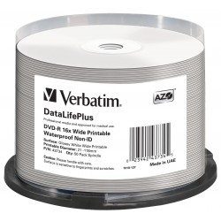 Mediji DVD-R 4,7GB 16x Verbatim InkJet WaterProof Spindle-50 (43734)
