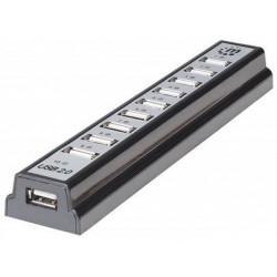 USB HUB 1x USB2.0 na 10x USB2.0, Manhattan 161572, z AC adapterjem
