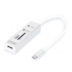 Hub USB 2.0 3xA + Tip-C + čitalec kartic Digitus